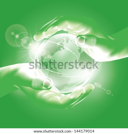 Hands holding globe. Symbol of environmental protection - Care about planet - Rising Sun over the world - Hope - stock vector
