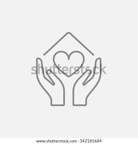 Hands holding house symbol with heart shape line icon for web, mobile and infographics. Vector dark grey icon isolated on light grey background. - stock vector