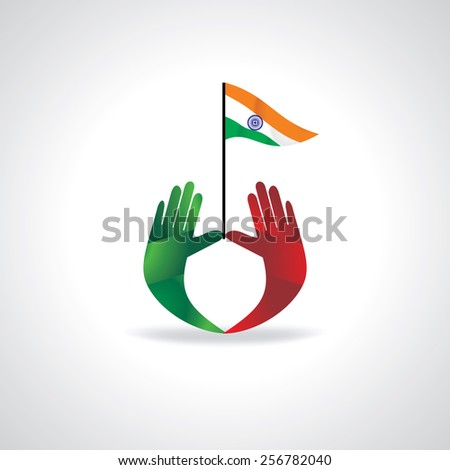 hands holding Indian flag vector - stock vector