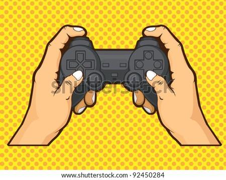 Hands Holding Joystick - stock vector