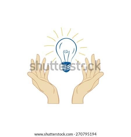 Hands holding light bulb. Concept vector illustration - stock vector