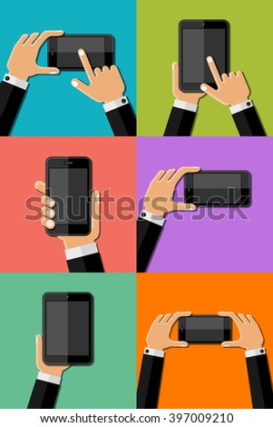 Hands holding mobile phones. Vector illustration. 