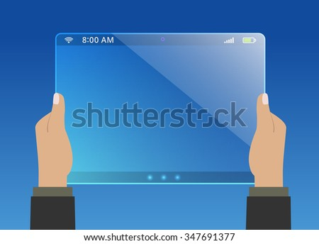 Hands holding modern virtual tablet
