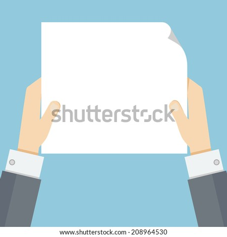 Hands holding paper or blank in flat style with space for text. Vector illustration for business message, sign, poster, advertisement, banner, reminder, note, presentation, announcement, page template - stock vector