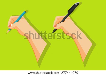 Hands holding pen and pencil to write