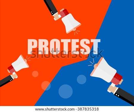 Hands holding protest signs and bullhorn, crowd of people protesters background,  - stock vector