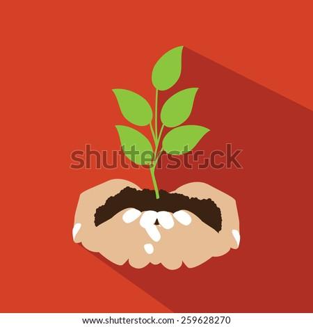 Hands holding seedling flat design. EPS 10 vector royalty free stock illustration for ad, promotion, poster, flier, blog, article, ad, marketing, conservation, gardening, brochure - stock vector