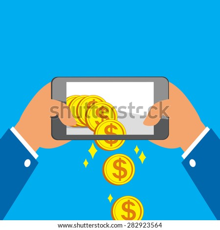 Hands holding smart phone and receiving big coins - stock vector