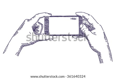 Hands holding smartphone and recording video vector drawing - stock vector