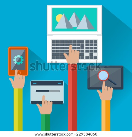 Hands holding smartphone, laptop, digital tablet with application element in flat design - stock vector