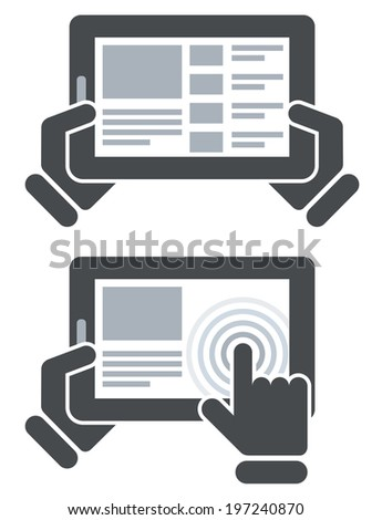 Hands holding tablet computer and open website - surfing internet  - stock vector