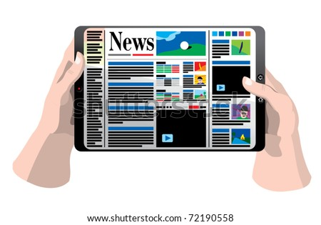 Hands holding tablet computer with news paper - stock vector