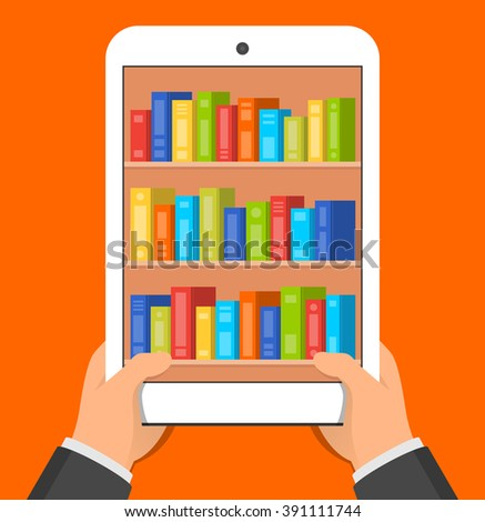 Hands holding tablet pc with books on the screen. Mobile reading concept. Vector flat illustration - stock vector