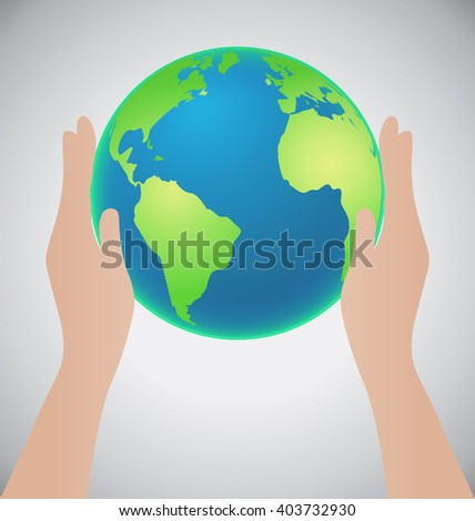 Hands Holding The Earth, Save The Earth Concept, Credit Map by Nasa