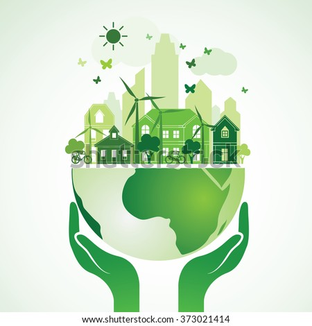 Hands Holding The Green Earth Globe with city ,Vector Illustration  - stock vector