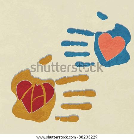 hands holding the heart. charity.broken heart of love. vector background - stock vector