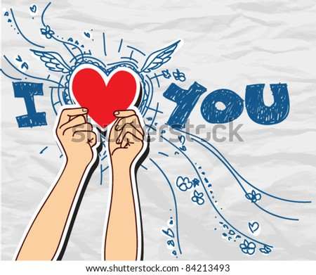 Hands holding the heart on a paper-background. Vector illustration. Place for your text. - stock vector