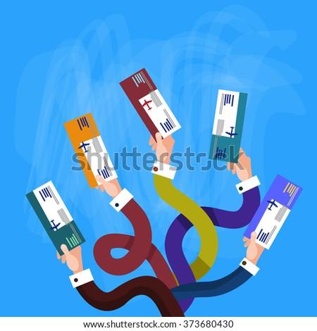 Hands Holding Ticket Boarding Pass Travel Document Flat Vector Illustration - stock vector