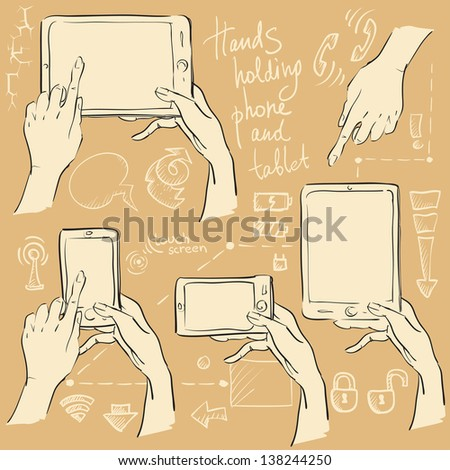 Hands holding touchscreen mobile phone and digital tablet computer. Hand drawn set, sketch  - stock vector