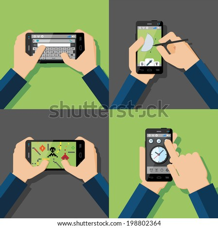 Hands holding touchscreen smartphones with applications on screens. Message, drawing, games, clock. Vector illustration. - stock vector