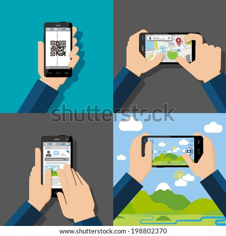 Hands holding touchscreen smartphones with applications on screens. Qr-code, map, chatt, message, camera. Vector illustration. - stock vector