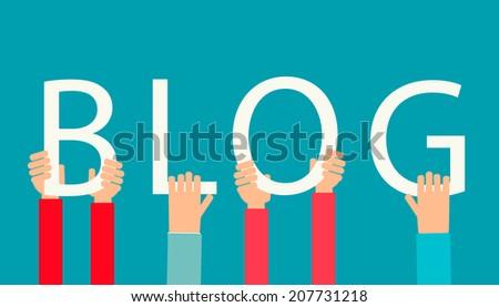 Hands holding word BLOG, vector illustration - stock vector