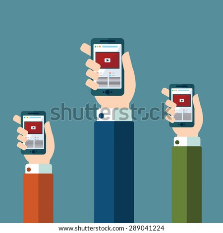 Hands holds smartphone with video player app on screen. Creative vector flat illustration. Modern style graphic design elements. Isolated on trendy red scarlet background. - stock vector