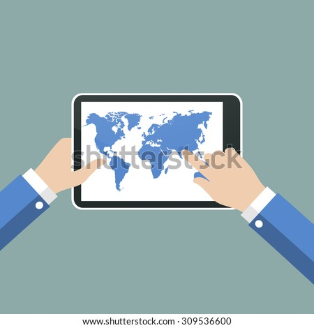 Hands holing tablet computer with world map.  Vector illustration.