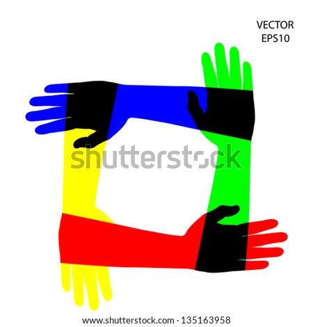 hands icon,hand symbol,abstract background ,business background ,vector - stock vector