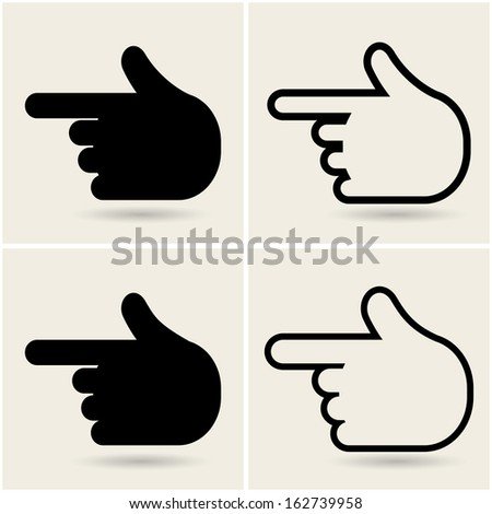 hands icons pointers. vector set eps10 - stock vector