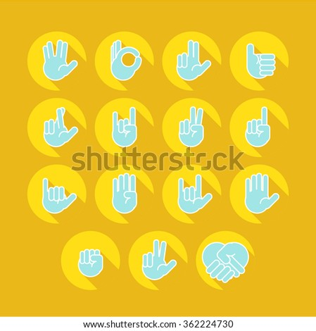 Hands icons set 9