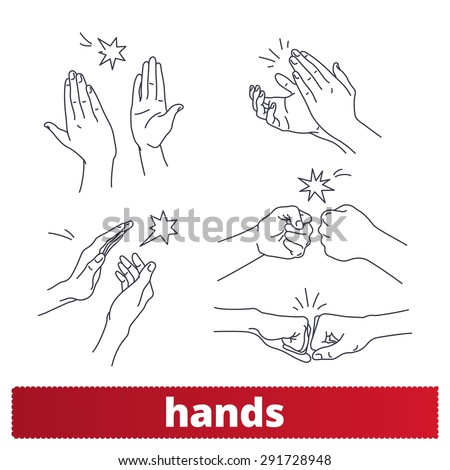 Hands icons: thin lines signs vector set. Applause, fist bump, high five. - stock vector