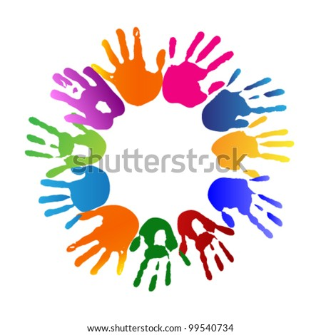hands in a circle - stock vector