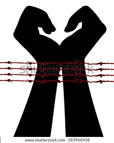 hands in barbwire silhouette vector - stock vector