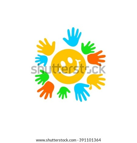 Hands in circle around smile logo - stock vector