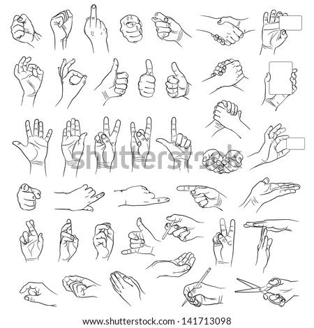 Hands in different interpretations. Vector illustration. Isolated on white background - stock vector