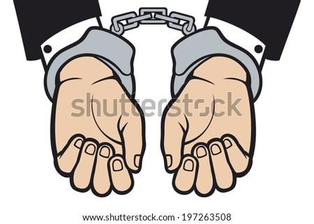 hands in handcuffs - stock vector