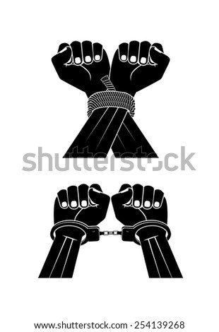 hands in handcuffs on a white background - stock vector