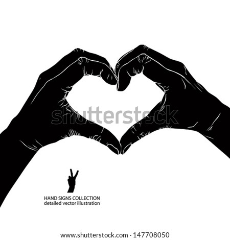Hands in heart form, detailed black and white vector illustration. - stock vector