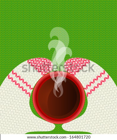 Hands in mittens holding a cup of hot tea on a background of knitted texture. Place for your text - stock vector