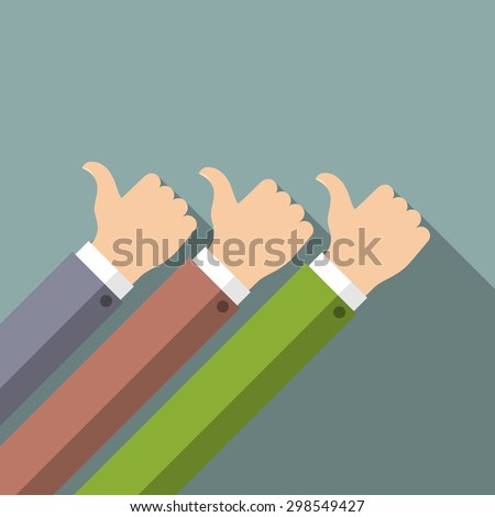 Hands in thumbs up sign. Positive feedback. Vector illustration.