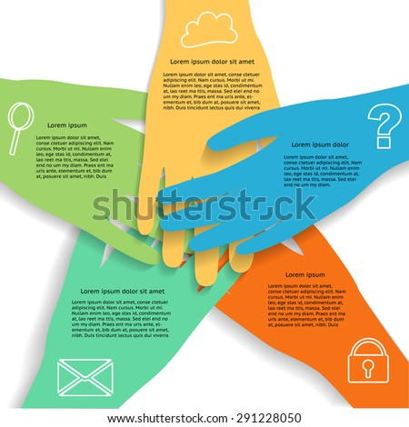 Hands Infographic showing business teamwork with icons, grouped and layered  - stock vector