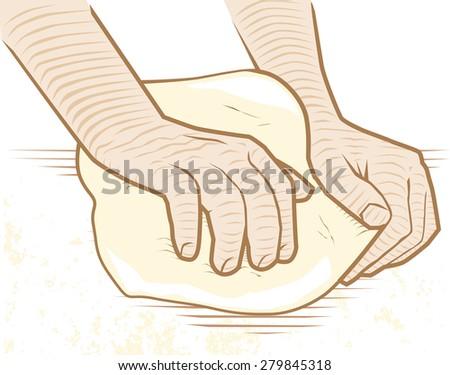Hands kneading dough on a floured surface - stock vector