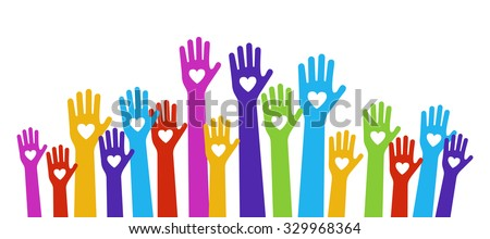 hands love color holding hearts - stock vector