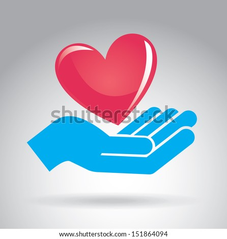 hands  love design over gray background vector illustration  - stock vector