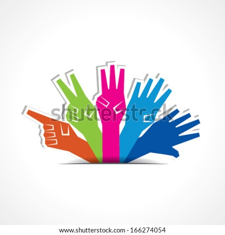 Hands make number one to five with copy-space stock vector - stock vector