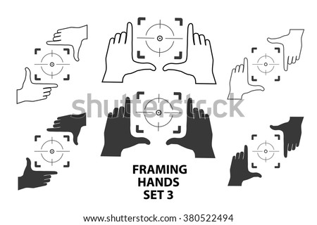 Hands making frame for video or photo design set3. Various combinations of frames made from fingers. Vector illustrations of perspective view. - stock vector