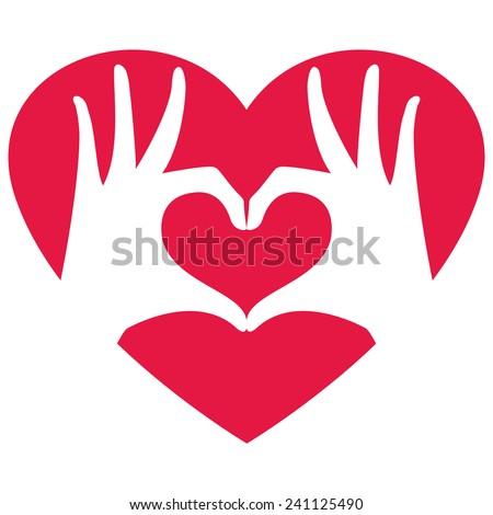 Hands making heart shape, vector illustration  - stock vector