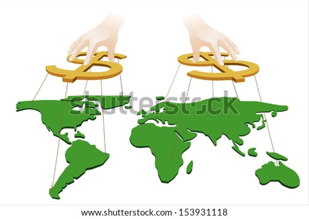 Hands manipulate the world with dollar signs - stock vector