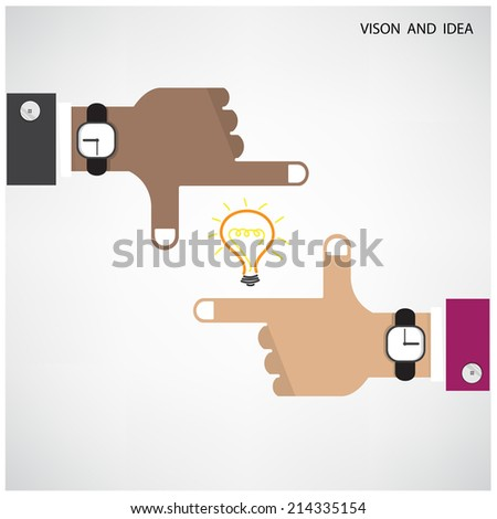 Hands of businessman and light bulb sign with business vision concept. Vector illustration - stock vector
